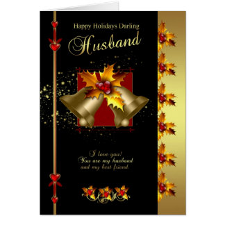 Husband Christmas Card - Holly And Bells - Black A