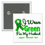 Husband - Green  Awareness Ribbon 2 Inch Square Button