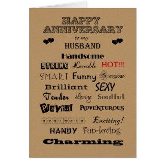 Husband Happy Anniversary Words of Praise Card