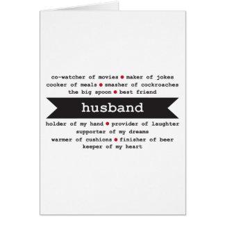 Husband Happy Birthday Card Adjectives describe