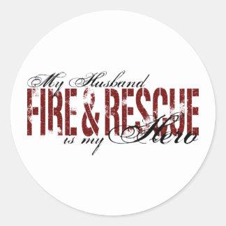 Husband Hero - Fire & Rescue Round Sticker