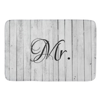 Husband His and Hers Mr and Mrs Bride Groom Rustic Bath Mat