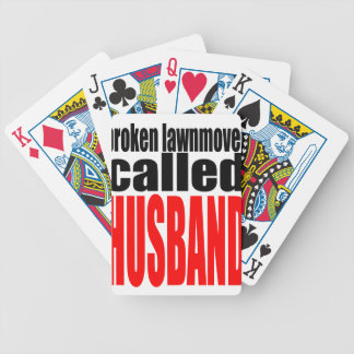husband marriage joke lawnmover newlywed reality q bicycle playing cards