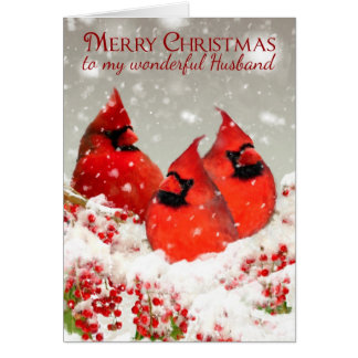 Husband, Oil Painted Red Cardinals In Winter Greeting Card