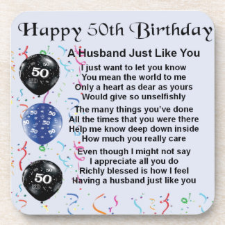 Husband Poem - 50th Birthday Coaster