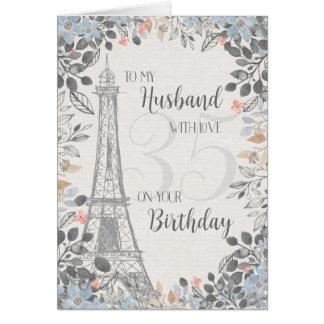 Husband Romantic 35th Birthday Eiffel Tower Card