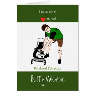 Husband Valentine Love Heart Lawnmower Man Card