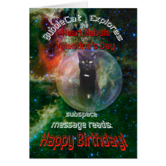 Husband Valentine's Day Space Cat Birthday  Card