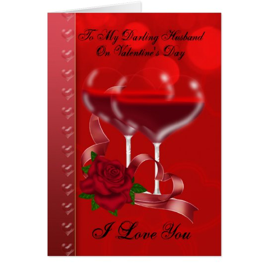 Husband Valentine's Day Card With Heart Glasses