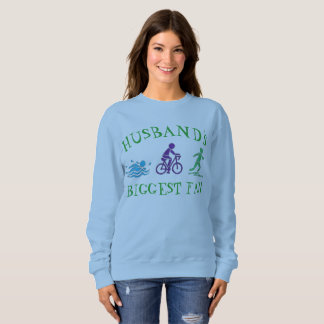 Husband's Biggest Fan Triathlon Ironman Swim Bike Sweatshirt