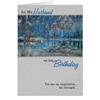 Husband's Birthday Rowing Kayak on the Lake Card