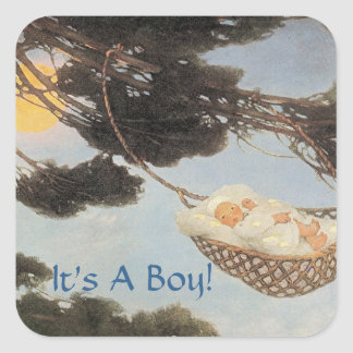 Hush-a-Bye, Baby Nursery Rhyme Baby Boy Square Sticker