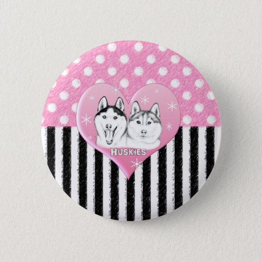 Huskies pink pattern 2 inch round button
