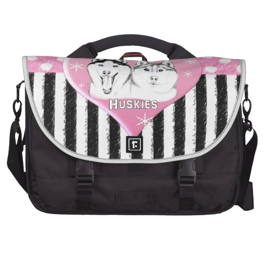 Huskies pink pattern bag for laptop