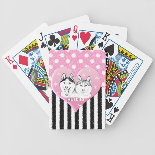 Huskies pink pattern bicycle playing cards