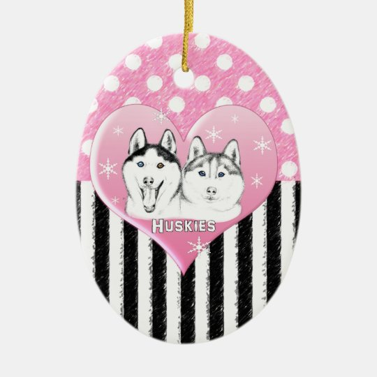 Huskies pink pattern ceramic ornament