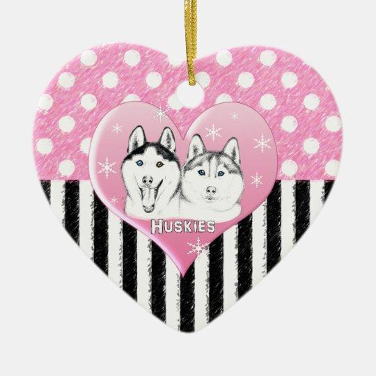 Huskies pink pattern ceramic ornament