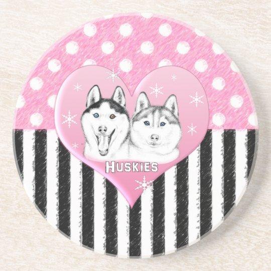 Huskies pink pattern coaster