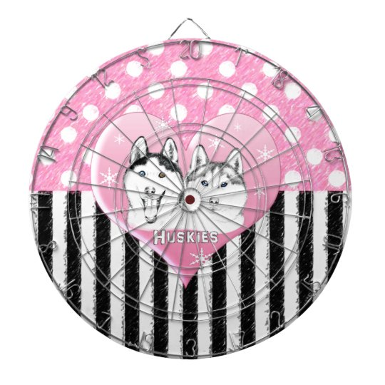 Huskies pink pattern dartboard