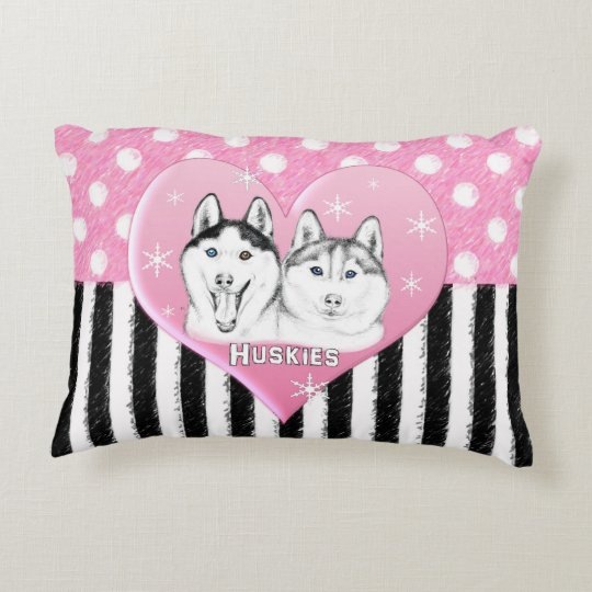 Huskies pink pattern decorative pillow