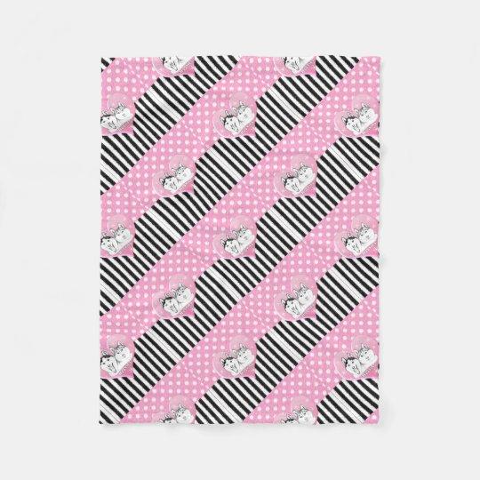 Huskies pink pattern fleece blanket