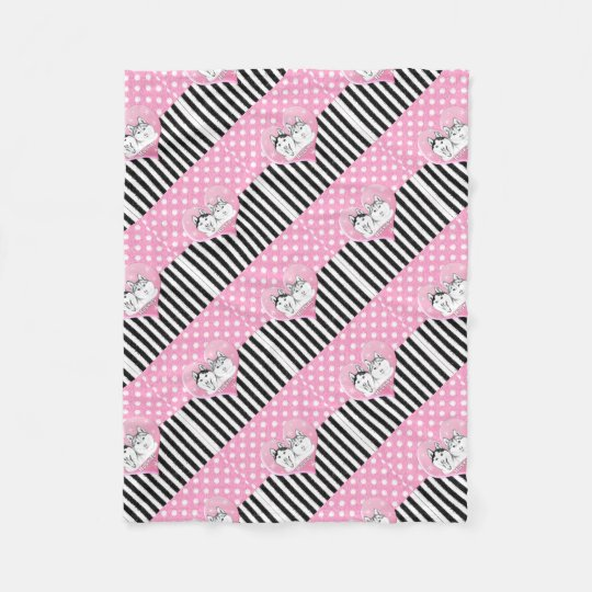 Huskies pink pattern fleece blanket