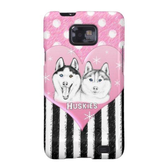 Huskies pink pattern galaxy SII cover