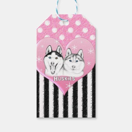 Huskies pink pattern gift tags