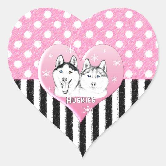 Huskies pink pattern heart sticker