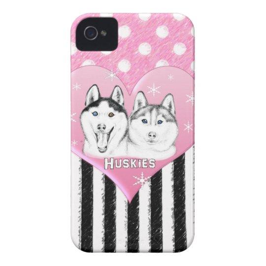 Huskies pink pattern iPhone 4 case