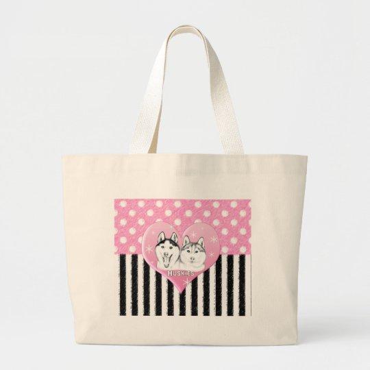 Huskies pink pattern large tote bag