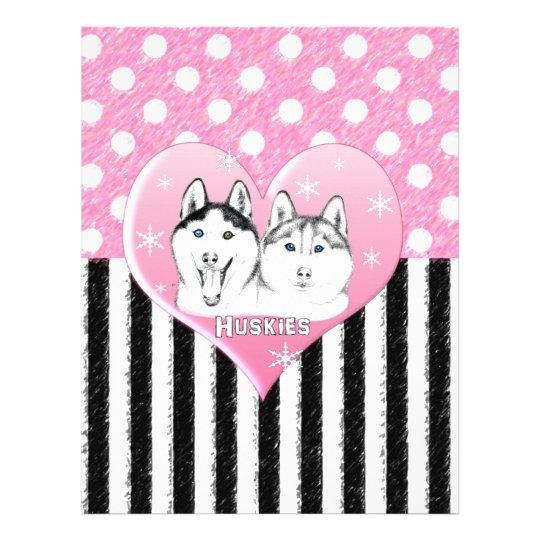 Huskies pink pattern letterhead