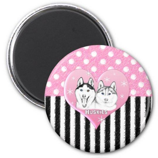 Huskies pink pattern magnet
