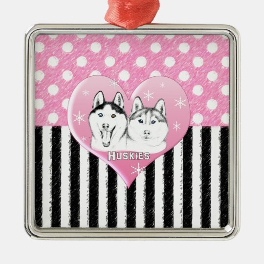 Huskies pink pattern metal ornament