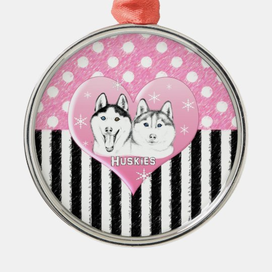 Huskies pink pattern metal ornament