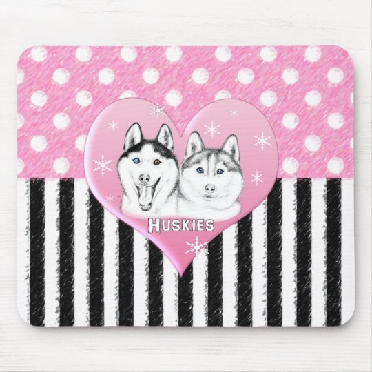 Huskies pink pattern mouse pad