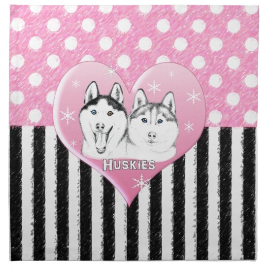 Huskies pink pattern napkin