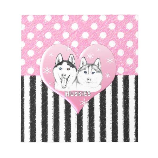 Huskies pink pattern notepad