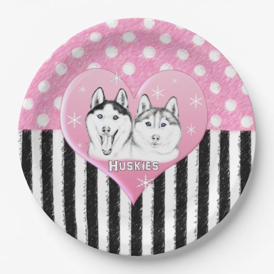 Huskies pink pattern paper plate