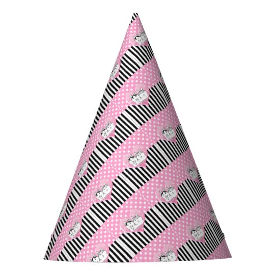 Huskies pink pattern party hat
