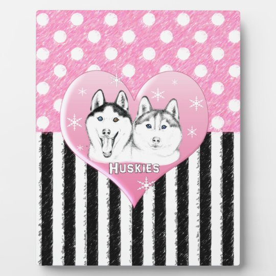 Huskies pink pattern plaque