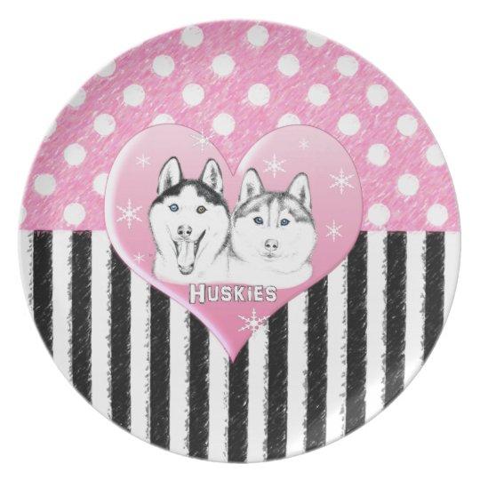 Huskies pink pattern plate