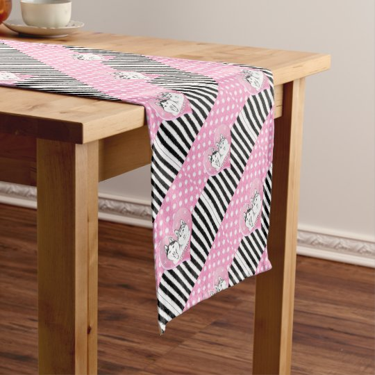 Huskies pink pattern short table runner