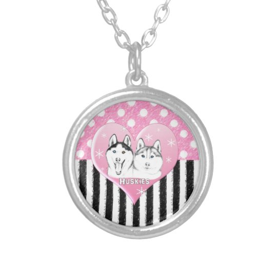 Huskies pink pattern silver plated necklace