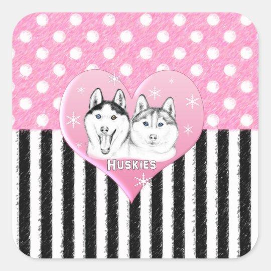 Huskies pink pattern square sticker