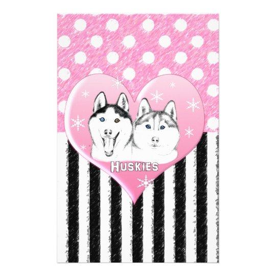 Huskies pink pattern stationery