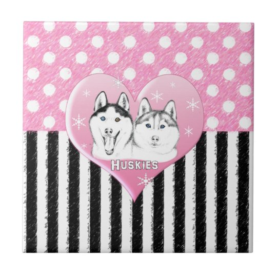 Huskies pink pattern tile