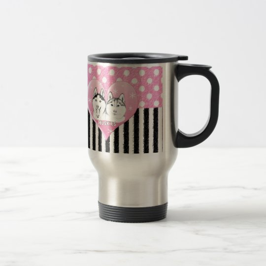 Huskies pink pattern travel mug