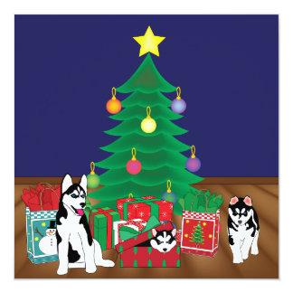 Huskies Playing Under the Christmas Tree Card