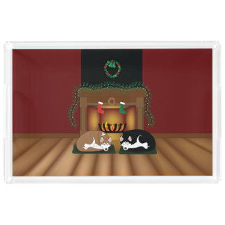 Huskies Sleeping by the Fireplace Plater Acrylic Tray
